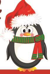 penguin in a santa hat and scarf