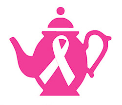 pink teapot with breast cancer awareness ribbon